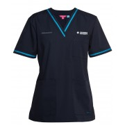 Fitted Contrast Scrub Top with 2 logos (Navy/Aqua)