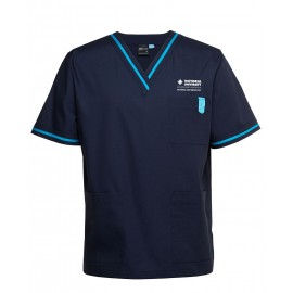 CLEARANCE - Unisex Contrast Scrub Top with old logo (Navy/Aqua)