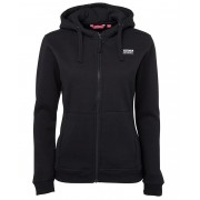 Ladies Full Zip Fleecy Hoodie (Black) with logo