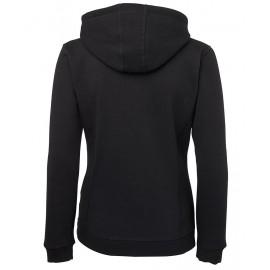 Ladies Full Zip Fleecy Hoodie (Black) with logo