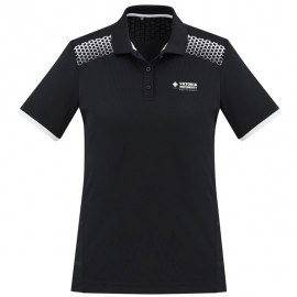 Ladies Galaxy Polo (Black/White) with logo