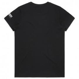 Ladies Maple Organic Tee (Black) with logo on sleeve