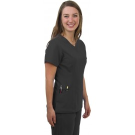 Ladies 4 Way Stretch Scrub Top (Carbon) with 2 logos