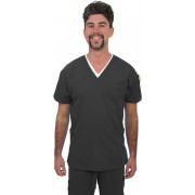 Unisex 4 Way Stretch Scrub Top (Carbon) with 2 logos